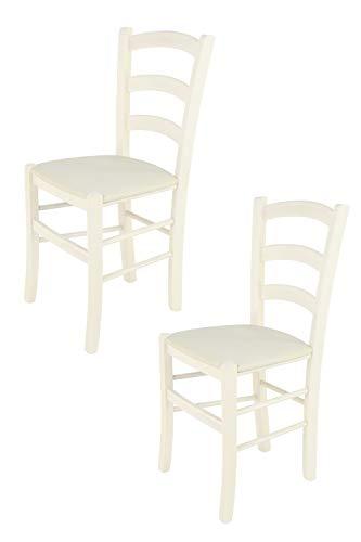 Tommychairs - 2er Set Stühle Venice, Robuste Struktur aus lackiertem Buchenholz in der Anilinfarbe Weiss und Sitzfläche mit Stoff in der Farbe Elfenbein bezogen. Set Bestehend aus 2 Stühlen Venice