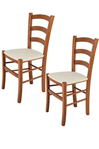 Tommychairs - 2er Set Stühle Venice für Küche und Esszimmer, Struktur aus lackiertem Buchenholz im Farbton Kirschholz und gepolsterte Sitzfläche mit Stoff in der Farbe Elfenbein bezogen