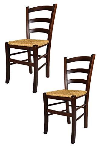 Tommychairs 2er Set: Stühle für die Küche und Esszimmer, Robuste Struktur aus Buchenholz, im Farbton Nuss und Sitzfläche aus Stroh. Set Bestehend aus 2 Stühlen Venezia
