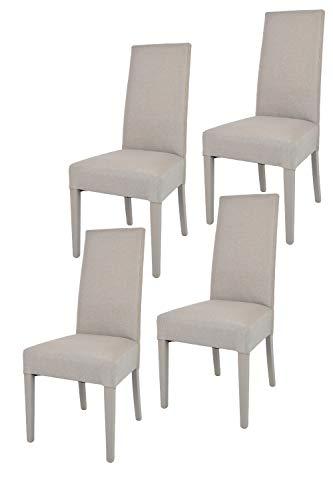 Tommychairs - 4er Set Moderne Stühle Chiara für Küche und Esszimmer, Struktur aus lackiertem Buchenholz Farbe Gämse, Gepolstert und mit Stoff in der Farbe Gämse bezogen
