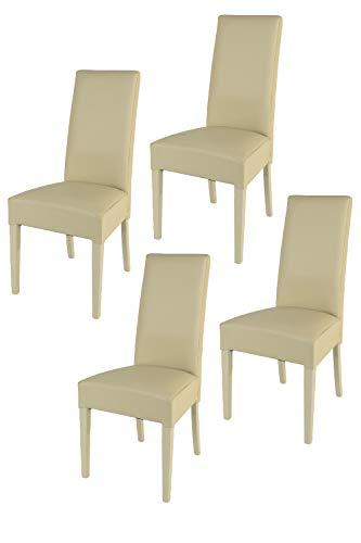 Tommychairs - 4er Set Moderne Stühle Luisa, Robuste Struktur aus lackiertem Buchenholz Farbe Sand, Gepolstert und mit Kunstleder in der Farbe Sand überzogen