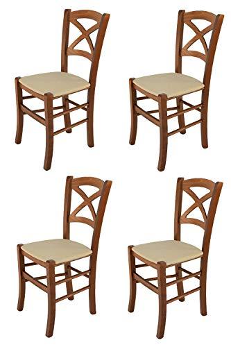 Tommychairs 4er Set Stühle Cross für Küche und Esszimmer, robuste Struktur aus lackiertem Buchenholz im Farbton Nuss und Sitzfläche mit Stoff in der Farbe Hanf bezogen