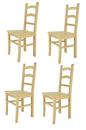 Tommychairs - 4er Set Stühle Tiziana für Küche und Esszimmer, Struktur aus poliertem Buchenholz unbehandelt und 100% natürlich und Einer Sitzfläche aus poliertem Holz