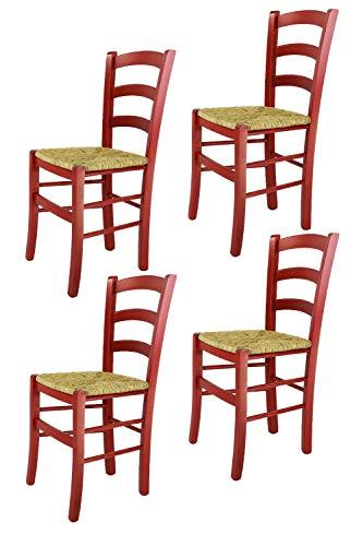 Tommychairs 4er Set: Stühle Venezia für Küche und Esszimmer, Robuste Struktur aus Buchenholz in Roter Anilinfarbe und Sitzfläche aus Stroh