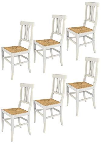 Tommychairs - 6er Set Stühle ARTE POVERA ANTICATA im Shabby Chic Stil, robuste Struktur aus Buchenholz, handwerklich antik behandelt und mit Einer Sitzfläche aus echtem Stroh