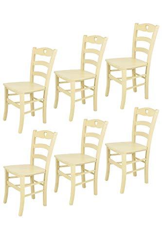 Tommychairs - 6er Set: Stühle Cuore 38 für Küche und Esszimmer, Robuste Struktur aus Buchenholz, in Anilinfarbe Elfenbein und Sitzfläche aus Holz