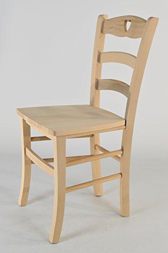 Tommychairs - 6er Set Stühle Cuore 38 robuste Struktur aus poliertem Buchenholz, unbehandelt und 100% natürlich, im natürlichen Farbton und mit Einer angelehnten Sitzfläche aus poliertem Holz