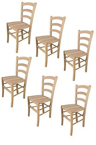 Tommychairs 6er Set Stühle Venezia 38 im klassischen Stil robuste Struktur aus poliertem Buchenholz, unbehandelt und 100% natürlich, im natürlichen Farbton und mit Einer Sitzfläche aus poliertem Holz
