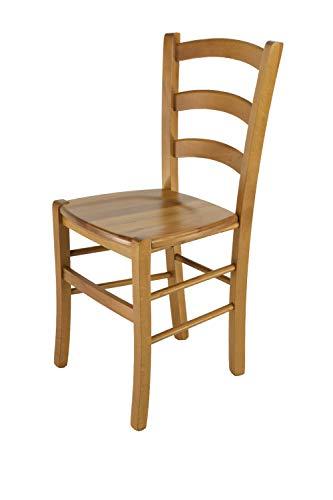 Tommychairs - Stuhl Venice für Küche und Esszimmer, Robuste Struktur aus lackiertem Buchenholz im Farbton Eichenholz und Sitzfläche aus Holz. Stuhl Modell Venice