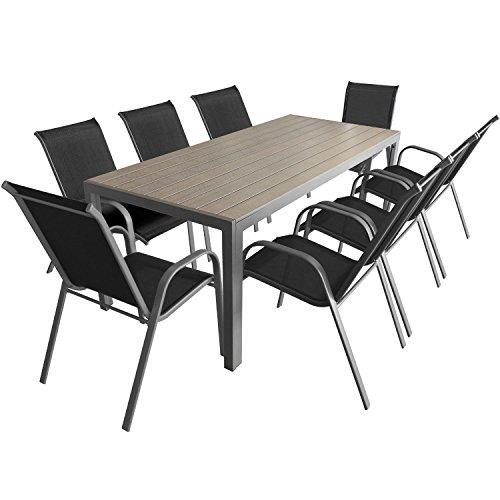 9-teiliges Gartenmöbel Set Aluminium Polywood Gartentisch 205x90cm + stapelbare pulverbeschichtete Gartenstühle Stapelstühle mit Textilenbespannung Sitzgruppe Sitzgarnitur Gartengarnitur