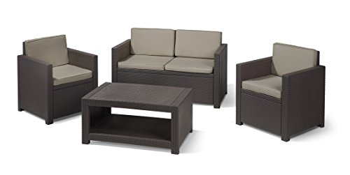 Allibert Lounge-Set Monaco 4tlg, braun/taupe