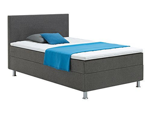 Atlantic Home Collection EDISON Boxspringbett 120 x 209 cm, Härtegrad H2, inklusive Topper, grau