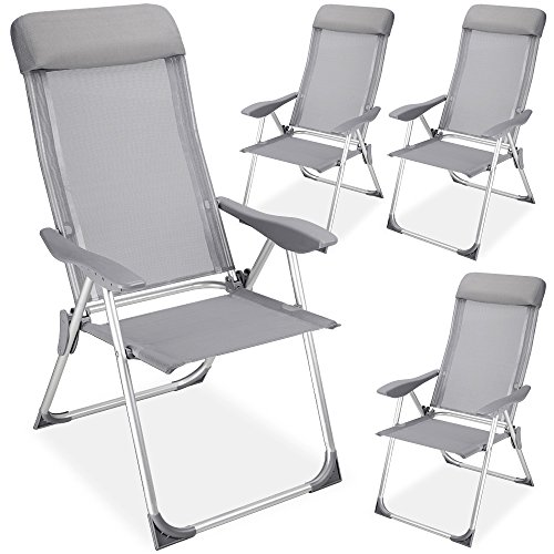 Deuba 4er Set Alu Gartenstuhl Hochlehner ✔5-fach verstellbare Rückenlehne ✔leichte Bauweise ✔atmungsaktiver Bezug - Klappstuhl Campingstuhl Gartenmöbel Stuhl