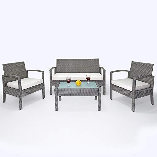 Deuba Poly Rattan 4+1 Lounge grau | 7cm Sitzauflagen | 5 mm Glastischplatte | wetterfestes Alu-Gestell | abnehmbare, waschbare Bezüge [ Modellauswahl ] - Sitzgruppe Gartenmöbel Balkon Set