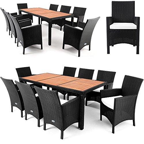 Deuba® Poly Rattan Sitzgruppe 8+1 schwarz | 7cm Dicke Sitzauflagen | Aluminium Gestell | Extra breite Stühle | Tischplatte aus Akazie [ Auswahl ] - Sitzgarnitur Alu Gartenmöbel Holz Set