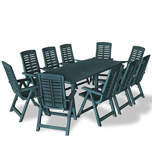 Festnight 11-TLG. Set Garten-Essgruppe Kunststoff Gartenmöbel Gartentisch mit Schirmloch Garten Klappstühle Sitzgruppe Grün