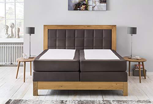 Furniture for Friends Möbelfreude Boxspringbett Puzzle Bonellfeder- und Taschenfederkern Wildeiche/Terrabraun 180 x 200 cm H2/H3