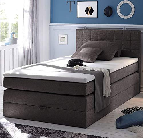HAWAII Boxspringbett 120x200cm Bett Einzelbett Kinderbett Anthrazit, Ausführung:Variante 2