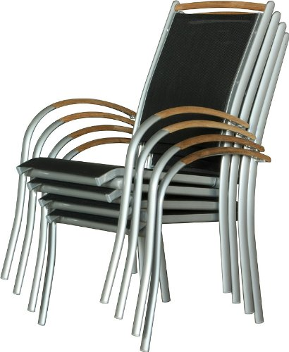 IB-Style - DIPLOMAT Gartenstuhlset Stapelbar | ALU SILBERMATT + TEAKHOLZ + Textilen SCHWARZ | 2 Farben | 3 Set- Kombinationen | Mehrfach gewebt - Gartenstuhl Stapelstuhl Sessel Gartenmöbel Gartengarnitur - 4er Set