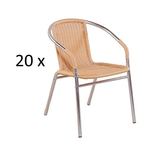 MACO Import Gartenstuhl 20er Set mit Geflecht aus Poly-Rattan in Natur und Aluminium in Silber Stapelstuhl