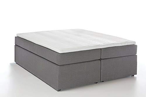 Möbelfreude® Boxspringbett Bella Hellgrau 180x200cm H3 inkl. Visco-Topper, 7-Zonen Taschenfederkern-Matratze, amerikanisches premium Bett Luxus Hotelbett Polsterbett Doppelbett King-Size