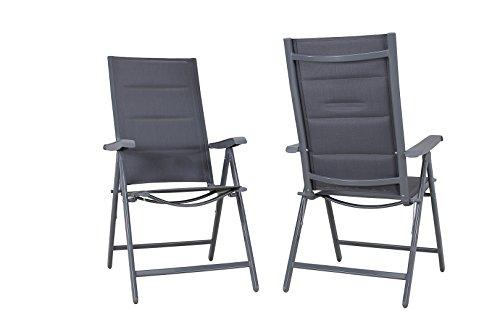 Miweba Moreno 2X Deluxe Aluminium Hochlehner Stühle Gartenmöbel Möbel Garten Gartenstuhl in vielen Farben extra gepolstert (Grau)