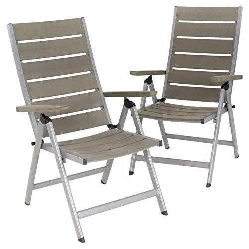 Nexos 2er Set Gartenstuhl Klappstuhl Alu-Stuhl Terrassenstuhl mit Armlehnen – Polywood Aluminium – 100x58x65 cm – pflegeleicht klappbar – Farbe grau