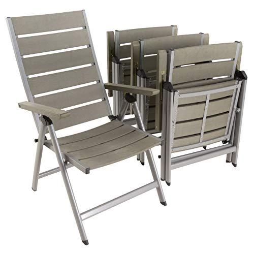 Nexos 4er Set Gartenstuhl Klappstuhl Alu-Stuhl Terrassenstuhl mit Armlehnen – Polywood Aluminium – 100x58x65 cm – pflegeleicht klappbar – Farbe grau