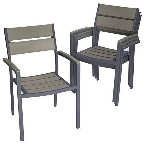 Nexos 4er Set Gartenstuhl Stapelstuhl Alu-Stuhl Terrassenstuhl mit Armlehnen – Polywood Aluminium – 82x55x54 cm – pflegeleicht stapelbar – Farbe grau