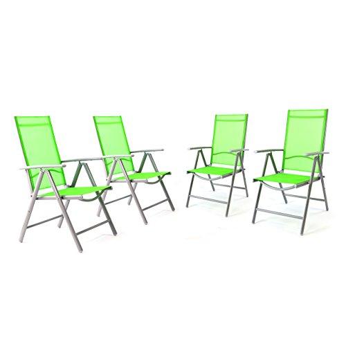 Nexos 4er Set Klappstuhl in Komfortbreite Gartenstuhl Campingstuhl Liegestuhl – Sitzmöbel Garten Terrasse Balkon – klappbarer Stuhl aus Aluminium & Kunststoff - grün