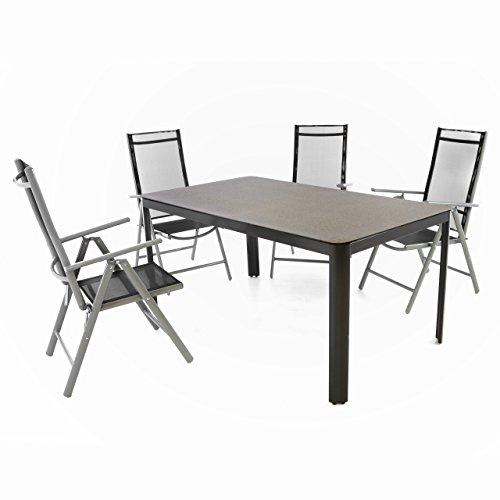 Nexos 5-teiliges Gartenmöbel-Set – Gartengarnitur Sitzgruppe Sitzgarnitur aus Gartenstühlen & Spray-Stone-Glastisch – Aluminium Kunststoff Glas – schwarz grau