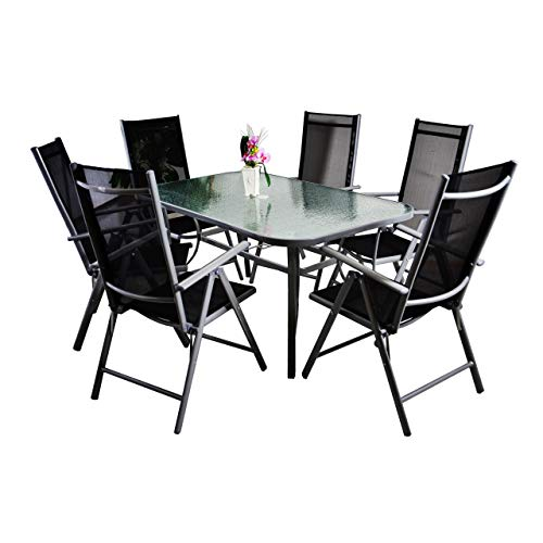 Nexos 7-teiliges Gartenmöbel-Set – Gartengarnitur Sitzgruppe Sitzgarnitur aus Gartenstühlen & Esstisch (Glasplatte: klar mit Struktur) – Aluminium Kunststoff Glas – schwarz grau