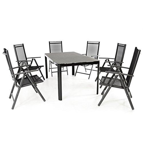 Nexos 7-teiliges Gartenmöbel-Set – Gartengarnitur Sitzgruppe Sitzgarnitur aus Klappstühlen & Spray-Stone-Glastisch – Aluminium Kunststoff Glas – schwarz grau