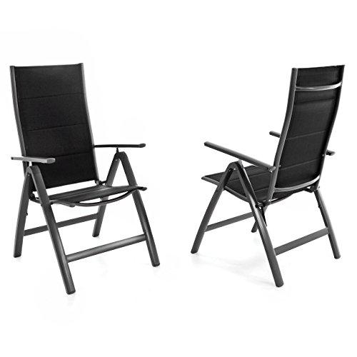 Nexos ZGC34481_SL02 2er Set Deluxe Klappstuhl gepolstert – Textilene schwarz/Rahmen dunkelgrau - Gartenstuhl Liegestuhl – klappbarer Stuhl aus Aluminium & Kunststoff Anthrazit