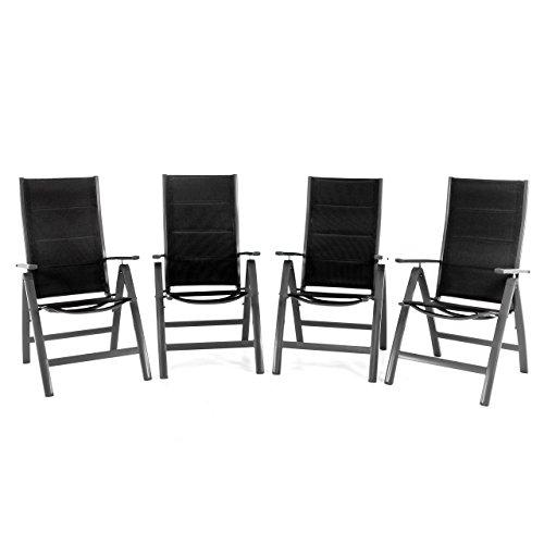 Nexos ZGC34481_SL04 4er Set Deluxe Klappstuhl gepolstert – Textilene schwarz/Rahmen dunkelgrau - Gartenstuhl Liegestuhl – klappbarer Stuhl aus Aluminium & Kunststoff Anthrazit