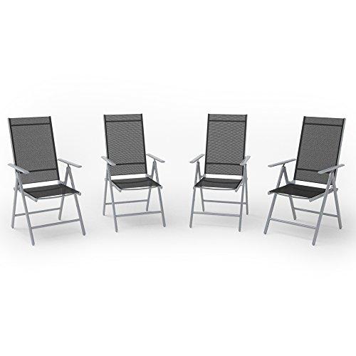 OSKAR 4er Set Alu Gartenstuhl Klappstuhl Hochlehner Campingstuhl Aluminium Liegestuhl (Silber/Schwarz)