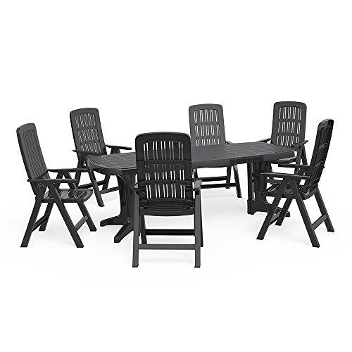 OSKAR Gartenmöbel 6+1 Sitzgruppe Tisch 220 x 95 cm Gartengarnitur Gartenset Sitzgarnitur Kunststoff Set