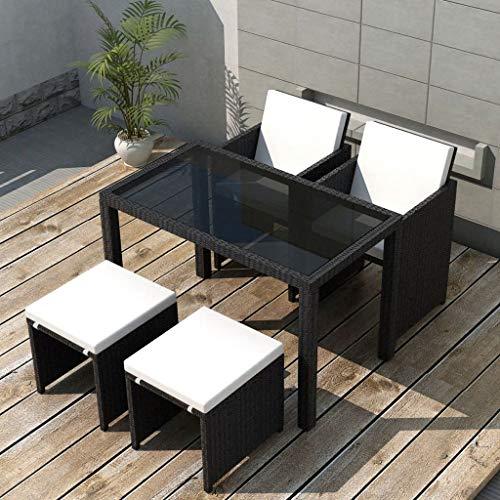 Tidyard Garten Essgruppe 11-TLG. Poly Rattan Gartenmöbel Set Tischset Sitzgruppe | Tisch und Stuhl Set | Gartentisch und Stühle | Gartensofa Set