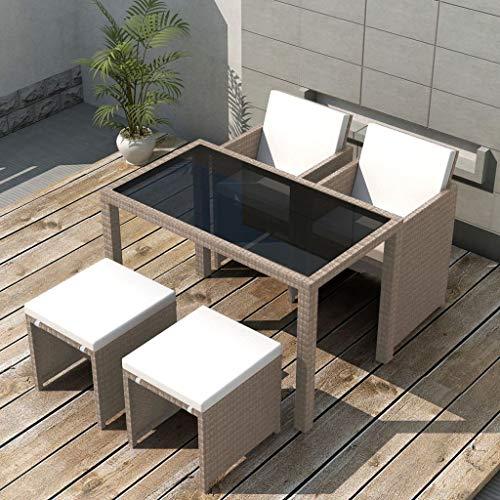 Tidyard Garten Essgruppe 11-TLG. Tischplatte Poly Rattan Gartenmöbel Set Sitzgruppe