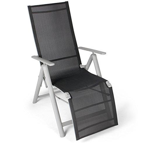 Vanage Alu Gartenstuhl mit Fußableger in schwarz - Klappstuhl  - Hochlehner - Klappsessel - Gartenmöbel - Stuhl für Garten, Terrasse und Balkon geeignet