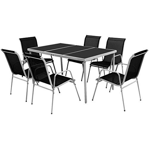 vidaXL Essgruppe 7-TLG. Gartenmöbel Set Sitzgruppe Gartengarnitur Stapelstühle