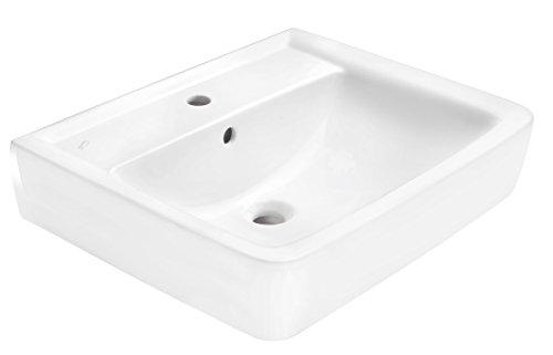 Keramag Waschtisch (Waschbecken) RENOVA Nr. 1 Plan - 600 x 480 mm, Weiß, Eckig, mit Hahnloch und Überlauf - 222260000
