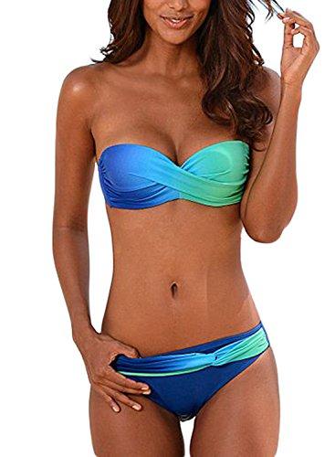 Aleumdr Damen Geraffte Tie Dye Bandeau Bikini Badeanzüge mit Slip S-XXL, Blau, Medium(EU38-40)