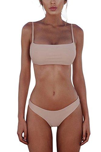 Cassiecy Damen Bikini Set Push Up Bustier Zweiteilig Sommer Sportliches Bademode Strand Bikini(Rosa,S)