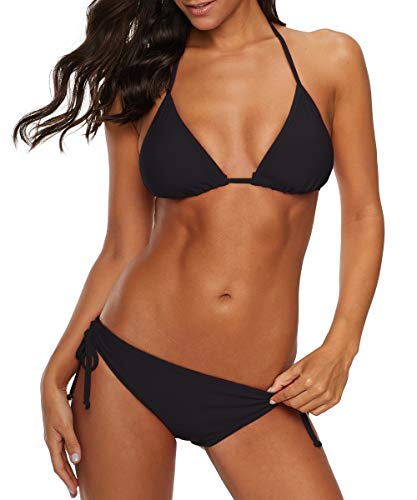 Durio Bikini Damen Push up Sexy 2tlg Bikini Damen Set mit Triangel Bikinihose Breit von Körpchen Verstellbar Schwarz EU 40-42 (Herstellergröße L)