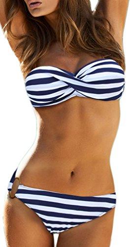 EUDOLAH Damen Bandeau Padded Bikini-Set Trägerlosen Badeanzug Push Up (M, A-Blaue Streifen)