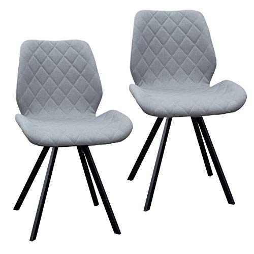 2er Set Esszimmerstuhl Polsterstuhl Stuhl Küchen-Stuhl grau Dunkelgrau Hellgrau Stoff Metall-Beine Retro gesteppt (Hellgrau)
