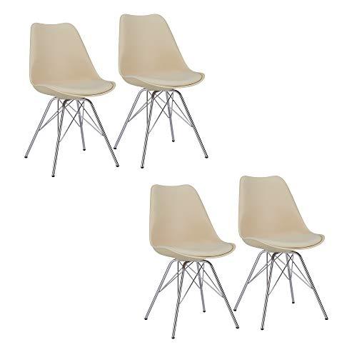 Duhome Esszimmerstuhl 4er Set Küchenstuhl Creme Beige Kunststoff mit Sitzkissen Stuhl Vintage Design Retro Farbauswahl 518J