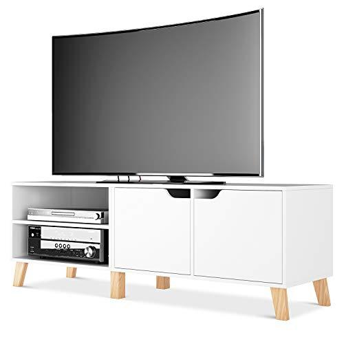 Homfa Fernsehtisch TV Schrank TV Tisch TV Möbel TV Lowboard TV Board Fernsehschrank Holz weiß 140x40x48cm