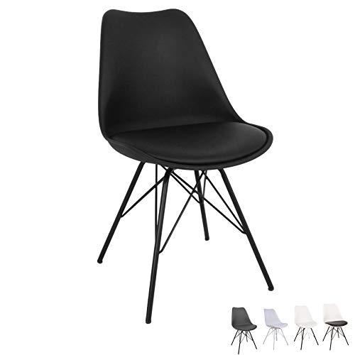 Nimara Comfort Stuhl in skandinavischem Design | Esszimmerstühle und Küchenstühle | Stühle in Schwarz, Weiß, Grau und Mehreren Farben | Sitzkissen Stuhl | Retro Stuhl (Schwarz)